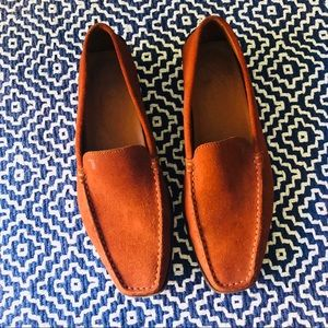 Tod's Gommino orangey brown suede driving loafers